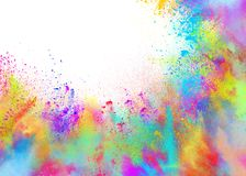Colored powders for spring holi color party. Background of explosion colored powders and glittering for spring holi color party royalty free stock images
