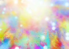 Colored powders for spring holi color party. Background of explosion colored powders and glittering for spring holi color party stock illustration