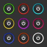 Colored power buttons Stock Image