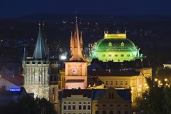 Colored Prague. Prague buildings highlighted with different color lights at night Stock Image