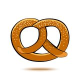 Colored pretzel with shadow. Vector stock illustration