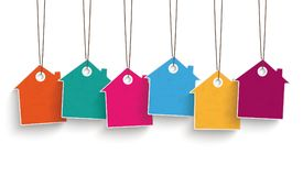 6 Colored Price Sticker House. 5 colored price sticker houses on the white background Royalty Free Stock Photo