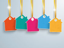 5 Colored Price Sticker Houses Golden Ribbons. White house price sticker with golden ribbons on the gray background Stock Photo