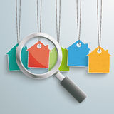 5 Colored Price Sticker Houses Loupe. Colored house price stickers with loupe on the grey background Stock Photography