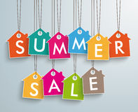 Colored Price Sticker Houses Summer Sale. White house price sticker on the grey background Stock Image