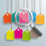 9 Colored Price Sticker Loupe. Colored house price stickers with loupe on the grey background Royalty Free Stock Photography