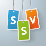 2 colored price sticker SSV Royalty Free Stock Images