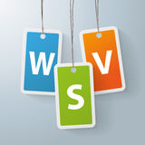 2 colored price sticker WSV. Three colored shopping marks with german text WSV, translate winter sale Stock Photo