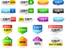 Colored price tags Stock Images