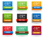 Colored price tags, set of glossy sale tags Stock Photography