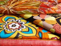Colored print cotton and flax. Colored print textiles for sewing Royalty Free Stock Photos