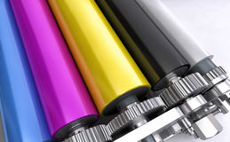Colored printers rolls Royalty Free Stock Photos