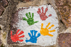 colored prints  of children hands Royalty Free Stock Photo