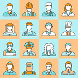 Colored Professions Avatars Line Icon Set Royalty Free Stock Photos