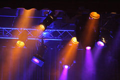 Colored projectors. Nightlife. The colored projectors during the show Royalty Free Stock Photo