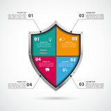 Colored Protection Shield Infographic Royalty Free Stock Photos