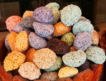 Colored pumice stones in oriental open air market Stock Images