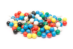 Colored Push Pins Isolated Royalty Free Stock Images
