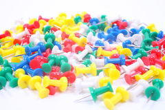 Colored pushpins isolated on white background Royalty Free Stock Photo