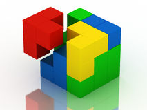 Colored puzzle cube. Piece arrived at colored puzzle cube Royalty Free Stock Photo