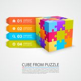 Colored puzzle cube info. Stock Photos