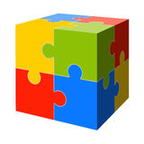 Colored puzzle cube. Three dimensional puzzle cube with parts in four colors Stock Image