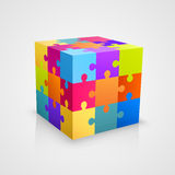 Colored puzzle cube. Vector illustration Royalty Free Stock Photo