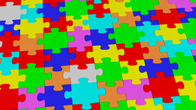 Colored puzzle maze together. 3D rendering of multiple puzzle pieces together Stock Images