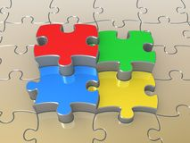 Colored Puzzle Pieces Stock Photography