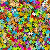 Colored Puzzle Pieces Heap - Colorful Background JigSaw. Illustration stock illustration
