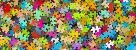 Colored Puzzle Pieces Heap Panorama - Banner. Colored Puzzle Pieces Heap Panorama - JigSaw Illustration vector illustration