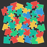 Colored Puzzle Pieces Heap. Vector illustration for background design Stock Photos