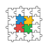 Colored puzzle pieces. Colored and line puzzle pieces. Vector illustration Royalty Free Stock Photography