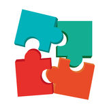 Colored puzzle pieces. Multicolor puzzle pieces  illustration flat icon style Royalty Free Stock Photos