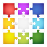 9 colored puzzle pieces. Nine different colored puzzle pieces Stock Image