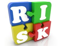 Colored puzzle pieces with risk concept. In background stock illustration