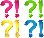 Colored puzzle question and exclamation marks Royalty Free Stock Photo