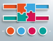 Colored Puzzle Spheres 4 Circle Template Stock Photo