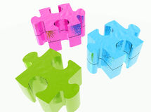 Colored puzzle tiles Royalty Free Stock Photos