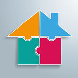 Colored 4 Puzzles House. Infographic with 4 puzzle pieces on the gray background Stock Photo
