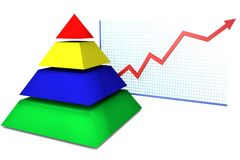 Colored pyramid diagram on a white background  Royalty Free Stock Image