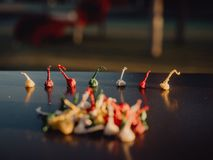 Colored pyrotechnics, children`s for children.  royalty free stock photos