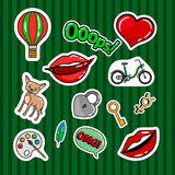 Colored quirky badges set. With lips, dog, bicycle and key on green background. Vector patches or stickers collection Stock Photography