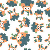 Colored rabbits in retro style, seamless pattern,  Stock Photos