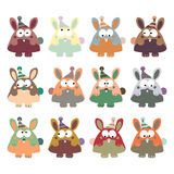 Colored rabbits in retro style, set,  Stock Image