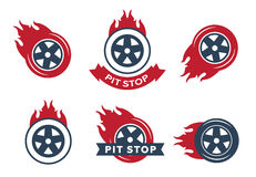 Colored racing tires. Emblems eps 10 Stock Photos