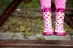 Colored rain boots. Colores rain boot, autumn enviroment Royalty Free Stock Image