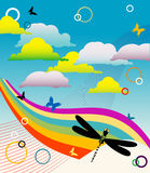 Colored rainbow and clouds. Abstract background with rainbow, clouds, butterflies, dragonfly and colored circles Royalty Free Stock Photo