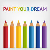 Colored rainbow pencils background Royalty Free Stock Image