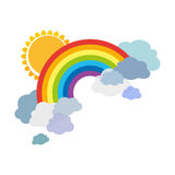 Colored rainbows with clouds and sun. Cartoon illustration isolated on white background. Royalty Free Stock Photos